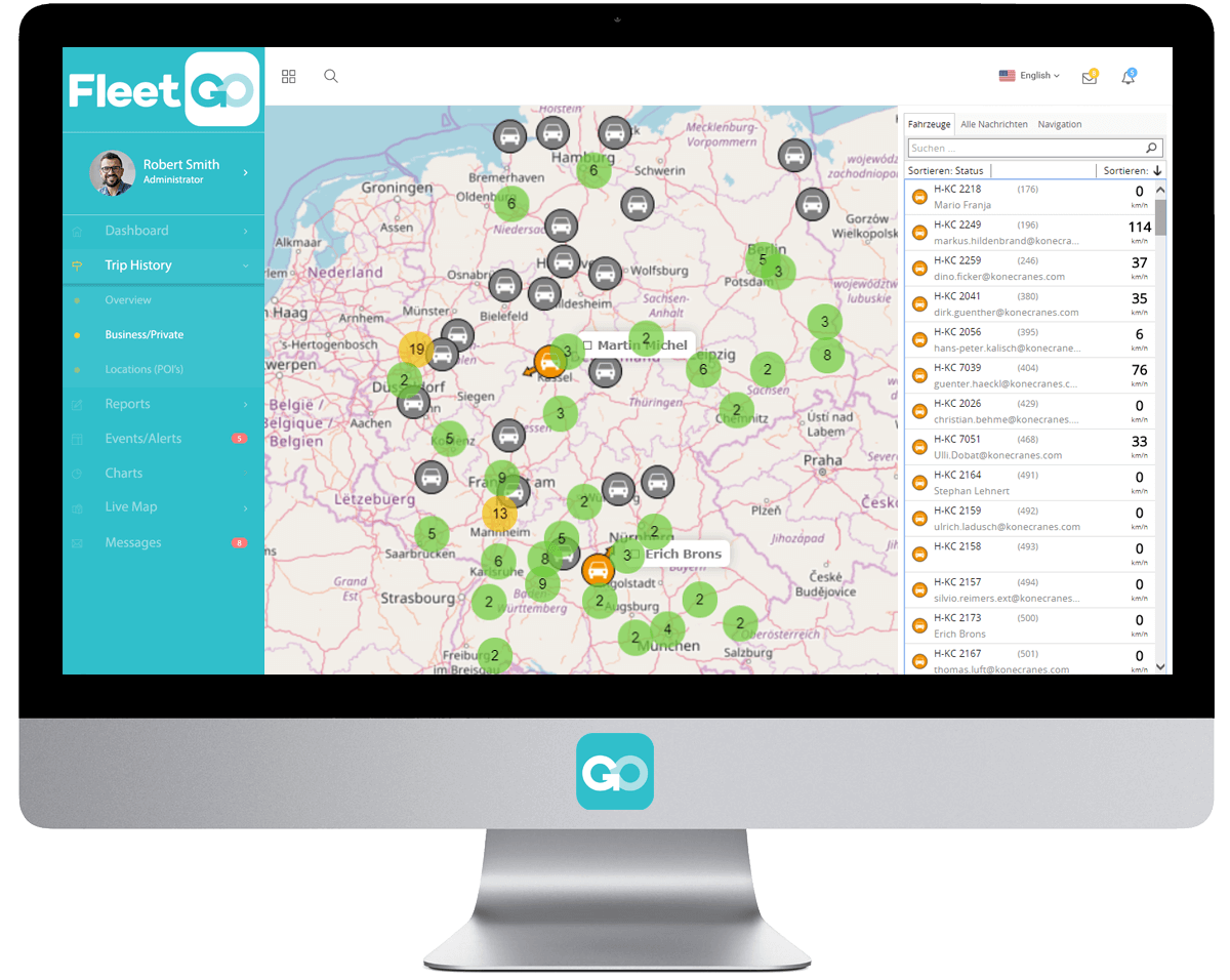 Software con mappa a tempo reale del tracciamento di flotta FleetGO