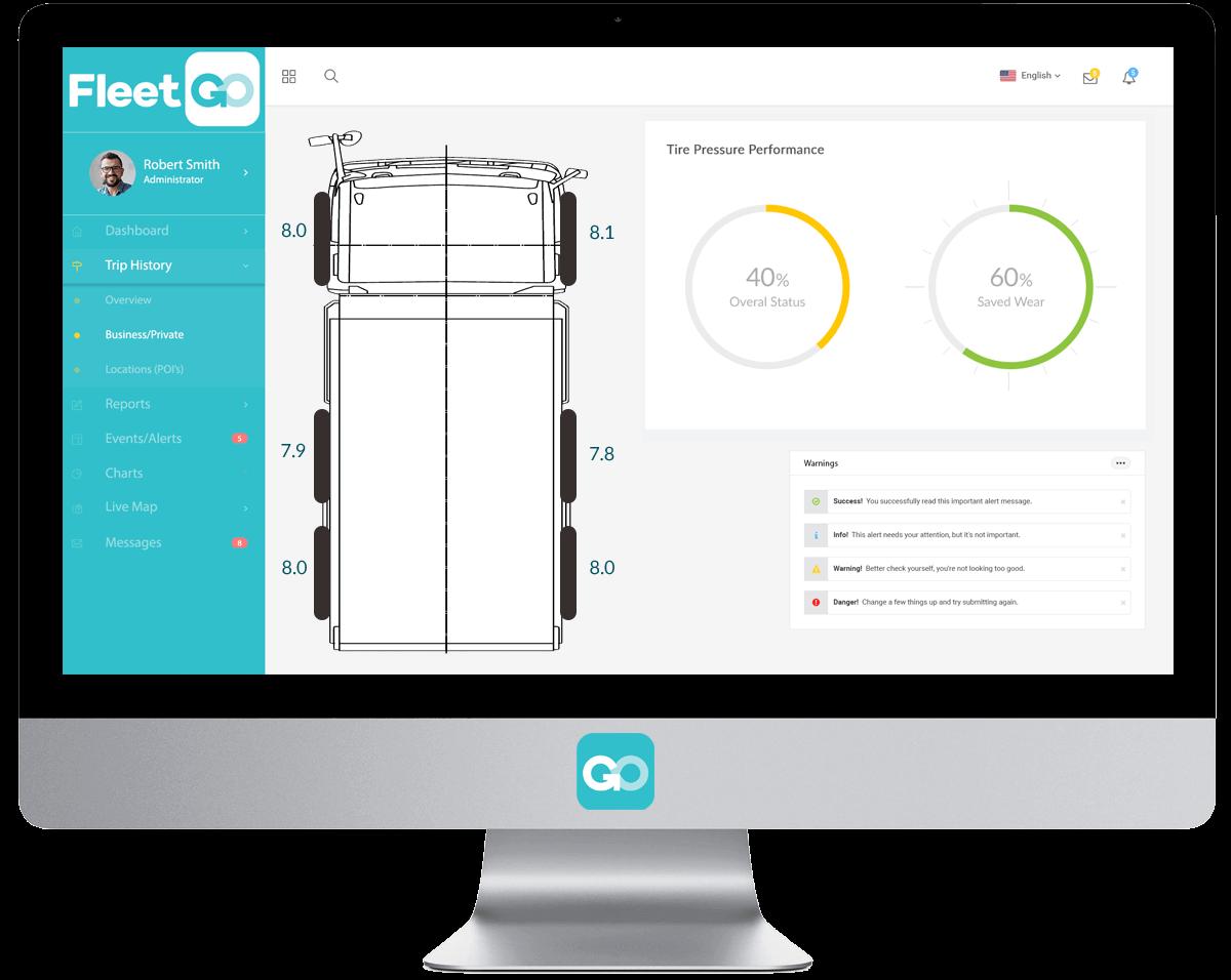 Piattaforma per il monitoraggio della pressione dei pneumatici FleetGO